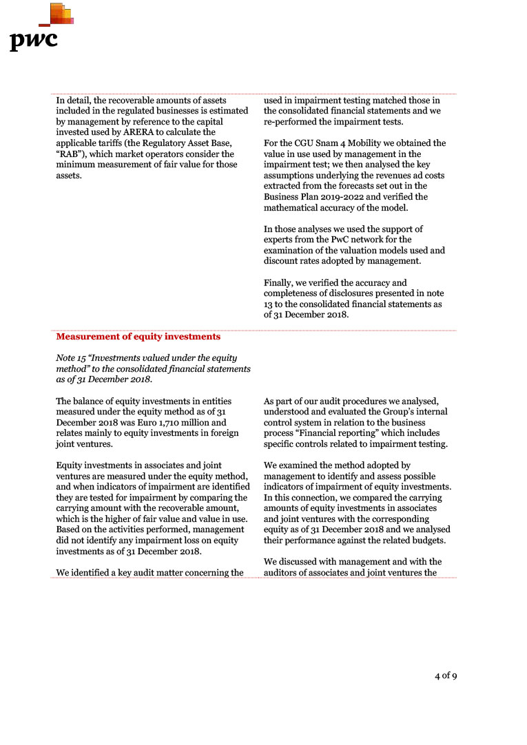 SNAM Annual Report 2018 - Independent auditors report